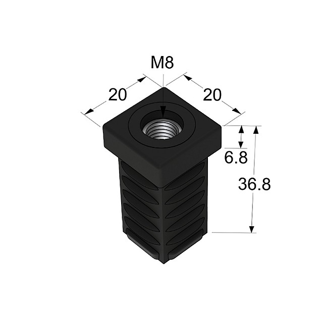 SQUARE TUBE 20X20  BASE WITH Μ8 THREAD